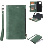 Side Zipper Back Card Horizontal Flip PU Leather Case with Card Slots & Wallet & Photo Frame & Lanyard For iPhone 13 Pro Max(Green)