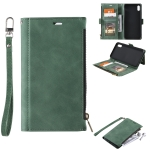 Side Zipper Back Card Horizontal Flip PU Leather Case with Card Slots & Wallet & Photo Frame & Lanyard For iPhone XS / X(Green)
