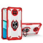 Matte TPU + PC Magnetic Shockproof Case with Ring Holder For Xiaomi Redmi Note 9(Red)