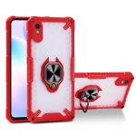 Matte TPU + PC Magnetic Shockproof Case with Ring Holder For Xiaomi Redmi 9A(Red)