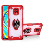 Matte TPU + PC Magnetic Shockproof Case with Ring Holder For Xiaomi Redmi Note 9S(Red)