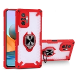 Matte TPU + PC Magnetic Shockproof Case with Ring Holder For Xiaomi Redmi Note 10 Pro(Red)
