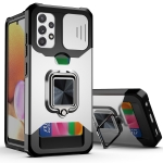 For Samsung Galaxy A32 4G Sliding Camera Cover Design PC + TPU Shockproof Case with Ring Holder & Card Slot(Silver)