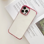 Three Sections Electroplating TPU Protective Case For iPhone 13 Pro(Rose Red)