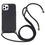 Wheat Straw Material + TPU Shockproof Case with Neck Lanyard For iPhone 13 Pro(Black)