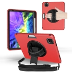 360 Degree Rotation Turntable Robot Shockproof TPU + PC Protective Case with Holder & Hand Grip Strap & Shoulder Strap For iPad Pro 11 2020(Red Black)