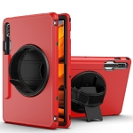 360 Degree Rotation Turntable Robot Shockproof TPU + PC Protective Case with Holder & Hand Grip Strap & Shoulder Strap For Samsung Galaxy Tab S7(Red Black)