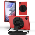 360 Degree Rotation Turntable Robot Shockproof TPU + PC Protective Case with Holder & Hand Grip Strap & Shoulder Strap For Samsung Galaxy Tab A7 Lite(Red Black)
