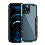 Shield 3 in 1 Acrylic PC Rubber Shockproof Case For iPhone 13(Cyan)