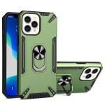PC + TPU Protective Case with 360 Degrees Rotatable Ring Holder For iPhone 13 Pro Max(Dark Green)