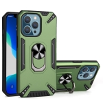PC + TPU Protective Case with 360 Degrees Rotatable Ring Holder For iPhone 13 Pro(Dark Green)
