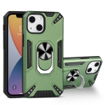 PC + TPU Protective Case with 360 Degrees Rotatable Ring Holder For iPhone 13 mini(Dark Green)