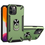 PC + TPU Protective Case with 360 Degrees Rotatable Ring Holder For iPhone 12 Pro Max(Dark Green)