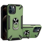 PC + TPU Protective Case with 360 Degrees Rotatable Ring Holder For iPhone 12 Pro(Dark Green)