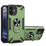 PC + TPU Protective Case with 360 Degrees Rotatable Ring Holder For iPhone 12 mini(Dark Green)