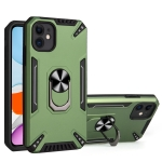 PC + TPU Protective Case with 360 Degrees Rotatable Ring Holder For iPhone 11(Dark Green)