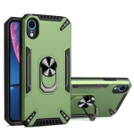PC + TPU Protective Case with 360 Degrees Rotatable Ring Holder For iPhone XR(Dark Green)