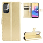 For Xiaomi Redmi Note 10T 5G Crazy Horse Texture Horizontal Flip Leather Case with Holder & Card Slots & Lanyard(Gold)
