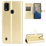 For ZTE Blade A51 Crazy Horse Texture Horizontal Flip Leather Case with Holder & Card Slots & Lanyard(Gold)