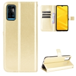 For ZTE Blade A71 Crazy Horse Texture Horizontal Flip Leather Case with Holder & Card Slots & Lanyard(Gold)