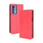 For Motorola Edge 20 Pro / Edge S Pro Magnetic Buckle Retro Crazy Horse Texture Horizontal Flip Leather Case with Holder & Card Slots & Photo Frame(Red)