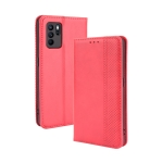 For OPPO Reno6 Z Magnetic Buckle Retro Crazy Horse Texture Horizontal Flip Leather Case with Holder & Card Slots & Photo Frame(Red)