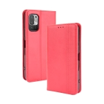 For Xiaomi Redmi Note 10 Magnetic Buckle Retro Crazy Horse Texture Horizontal Flip Leather Case with Holder & Card Slots & Photo Frame(Red)