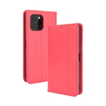 For Oukitel C21 Pro Magnetic Buckle Retro Crazy Horse Texture Horizontal Flip Leather Case with Holder & Card Slots & Photo Frame(Red)
