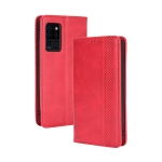 For Oukitel C21 Magnetic Buckle Retro Crazy Horse Texture Horizontal Flip Leather Case with Holder & Card Slots & Photo Frame(Red)