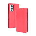 For OnePlus Nord 2 5G Magnetic Buckle Retro Crazy Horse Texture Horizontal Flip Leather Case with Holder & Card Slots & Photo Frame(Red)