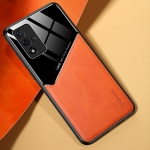 All-inclusive Leather + Organic Glass Protective Case with Metal Iron Sheet For OPPO A93s 5G(Yellow)