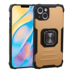 Fierce Warrior Series Armor All-inclusive Shockproof Aluminum Alloy + TPU Protective Case with Ring Holder For iPhone 13(Gold)