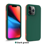 Dual-color 360 Degrees Full Coverage Protective PC + TPU Shockproof Case For iPhone 13 Pro Max(Dark Green)