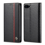 LC.IMEEKE Carbon Fiber PU + TPU Horizontal Flip Leather Case with Holder & Card Slot & Wallet For iPhone 7Plus / 8Plus(Vertical Black)