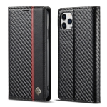 LC.IMEEKE Carbon Fiber PU + TPU Horizontal Flip Leather Case with Holder & Card Slot & Wallet For iPhone 11(Vertical Black)