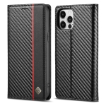 LC.IMEEKE Carbon Fiber PU + TPU Horizontal Flip Leather Case with Holder & Card Slot & Wallet For iPhone 12 Pro Max(Vertical Black)