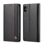 LC.IMEEKE Carbon Fiber PU + TPU Horizontal Flip Leather Case with Holder & Card Slot & Wallet For iPhone X / XS(Vertical Black)
