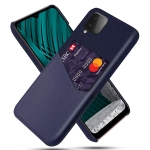 For Samsung Galaxy M12 Cloth Texture PC + PU Leather Back Cover Shockproof Case with Card Slot(Blue)