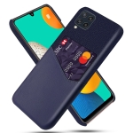 For Samsung Galaxy M32 Cloth Texture PC + PU Leather Back Cover Shockproof Case with Card Slot(Blue)