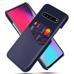 For Samsung Galaxy S10 5G Cloth Texture PC + PU Leather Back Cover Shockproof Case with Card Slot(Blue)