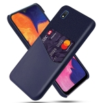 For Samsung Galaxy A10e Cloth Texture PC + PU Leather Back Cover Shockproof Case with Card Slot(Blue)