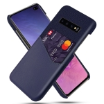 For Samsung Galaxy S10+ Cloth Texture PC + PU Leather Back Cover Shockproof Case with Card Slot(Blue)