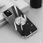Electroplating Silicone Shockproof Case with Ring Holder For iPhone 13 Pro(Silver)