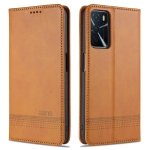 For OPPO A16 AZNS Magnetic Calf Texture Horizontal Flip Leather Case with Card Slots & Holder & Wallet(Light Brown)