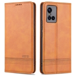 For vivo S10 Pro AZNS Magnetic Calf Texture Horizontal Flip Leather Case with Card Slots & Holder & Wallet(Light Brown)