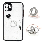 Colored Drawing Starry Sky Epoxy TPU Shockproof Case with Ring Holder For iPhone 11(Heart)