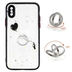 Colored Drawing Starry Sky Epoxy TPU Shockproof Case with Ring Holder For iPhone X / XS(Heart)