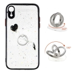 Colored Drawing Starry Sky Epoxy TPU Shockproof Case with Ring Holder For iPhone XR(Heart)