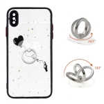 Colored Drawing Starry Sky Epoxy TPU Shockproof Case with Ring Holder For iPhone XS Max(Heart)