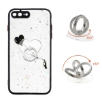 Colored Drawing Starry Sky Epoxy TPU Shockproof Case with Ring Holder For iPhone 7 Plus / 8 Plus(Heart)